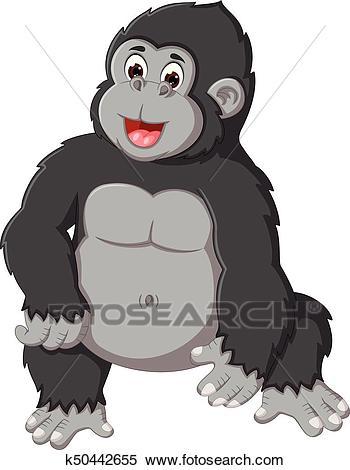 Clipart - Cute Gorilla Cartoon Posing Wi-Clipart - cute gorilla cartoon posing with laughing. Fotosearch - Search Clip  Art, Illustration-6