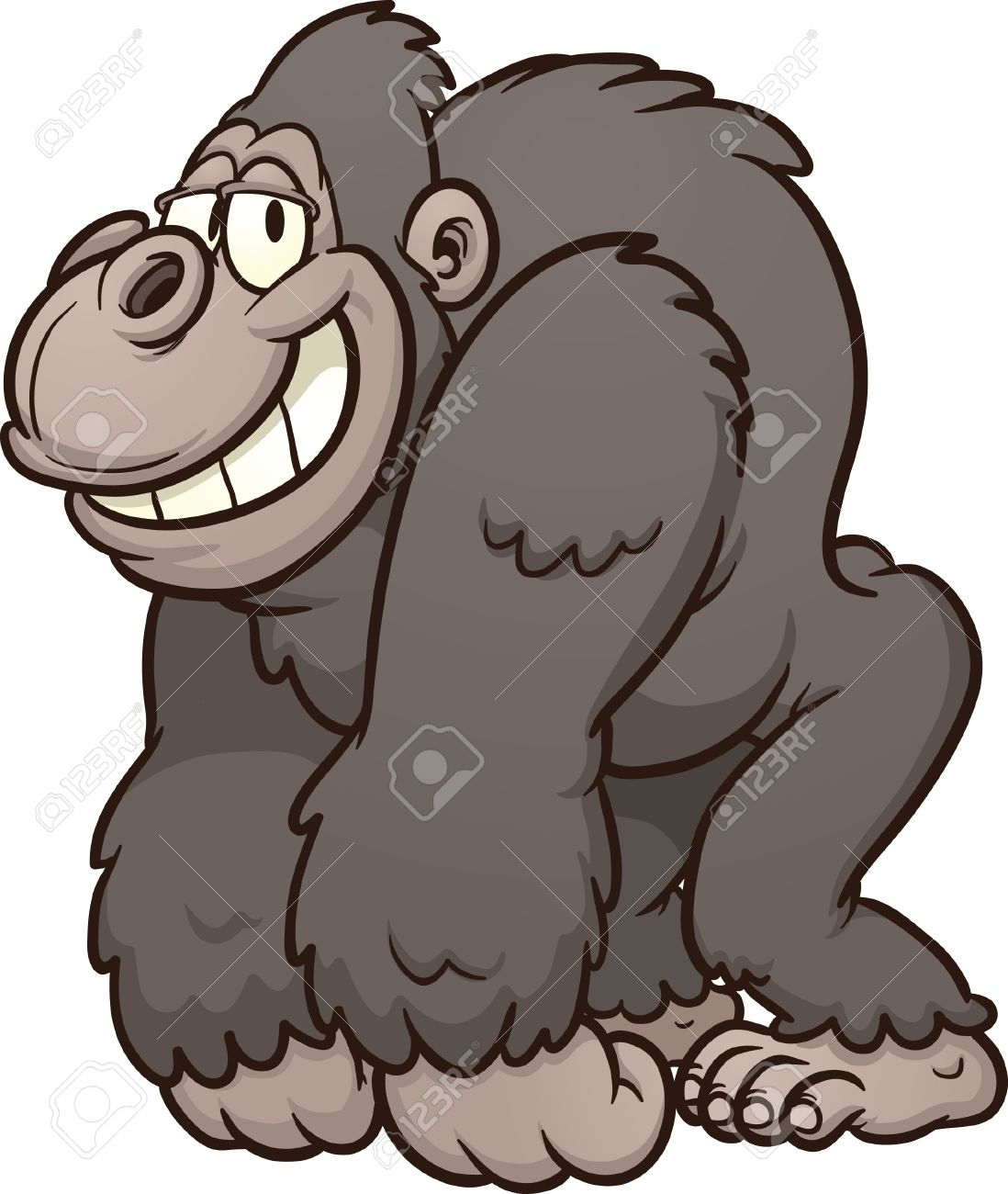 Strong Cartoon Gorilla Vector Clip Art I-Strong cartoon gorilla Vector clip art illustration with simple gradients  All in a single layer Stock-19