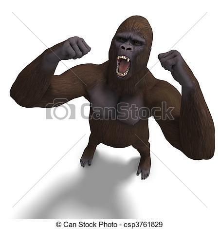 ... Gorilla Roaring. 3D Rendering With C-... gorilla roaring. 3D rendering with clipping path and shadow... ...-15
