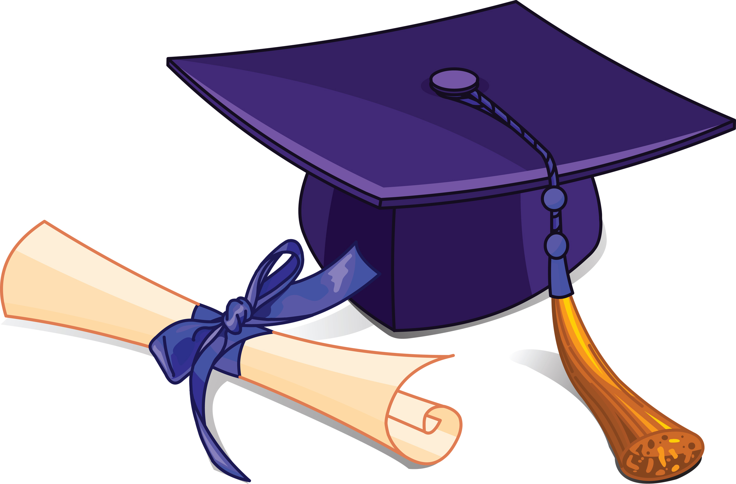 Gown Clipart; High School . Graduation Cap and Diploma .