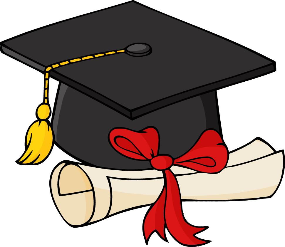 Graduation cap and gown clipart 2