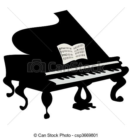 ... Grand piano illustration, isolated object over white... Grand piano Clipartby ...