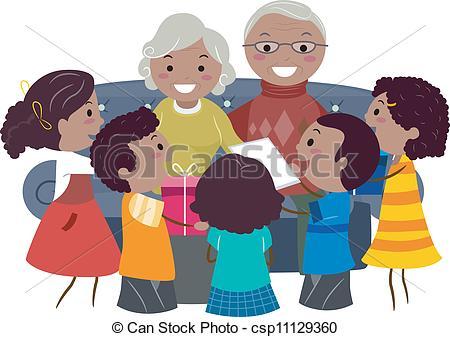 ... Grandparents Presents - Illustration of Kids Giving Presents.