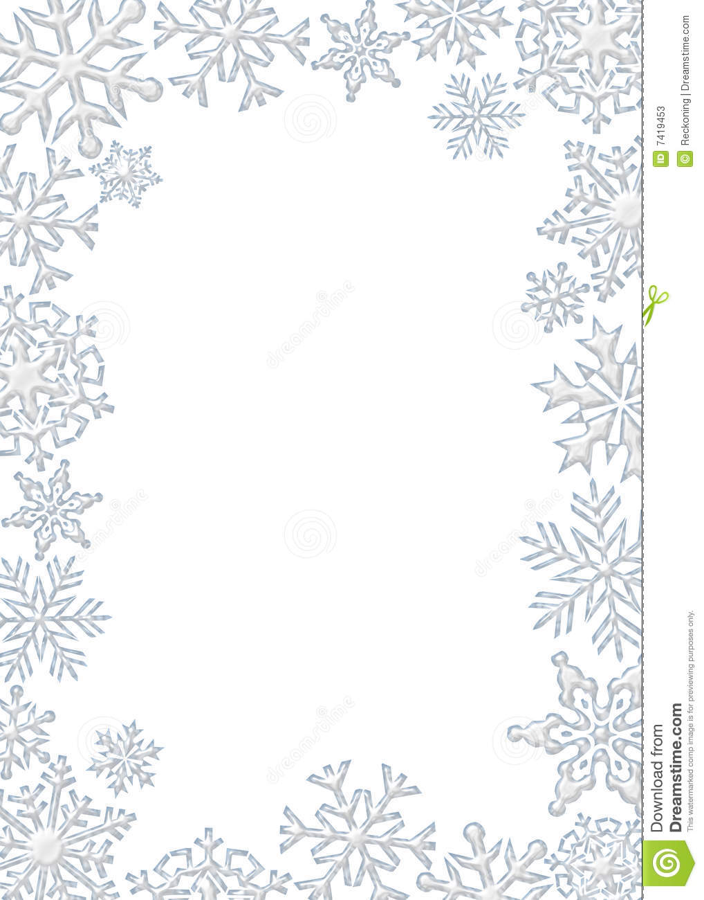 Graphic Illustration Of White - Snowflake Clipart Border