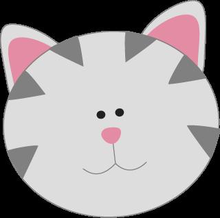 Gray Kitty Cat Face - Kitty Cat Clip Art