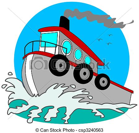 Gray Tugboat - This illustration depicts-Gray Tugboat - This illustration depicts a gray tugboat.-19