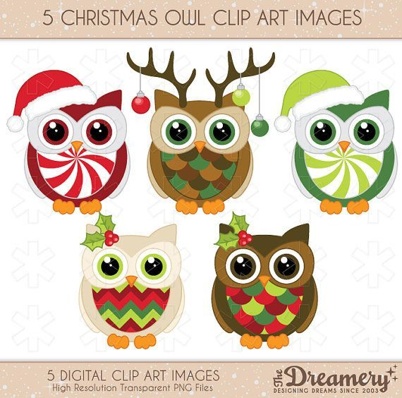 Great Cookie or Fondant inspiration. 5 Christmas Owl Clip Art Images - PNG - INSTANT DOWNLOAD - Invitations, Party, Baby Shower, Birthday