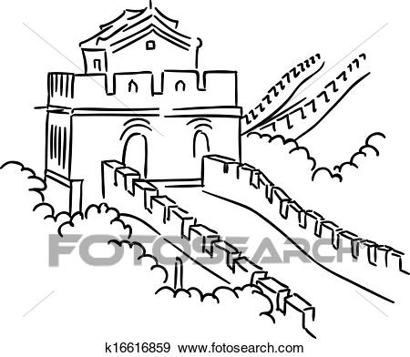 Clip Art - Great Wall in China. Fotosearch - Search Clipart, Illustration  Posters,