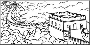 Clip Art: Great Wall of China Bu0026W I abcteach clipartlook.com - preview 1