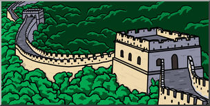 Clip Art: Great Wall of China Color I abcteach clipartlook.com - preview 1