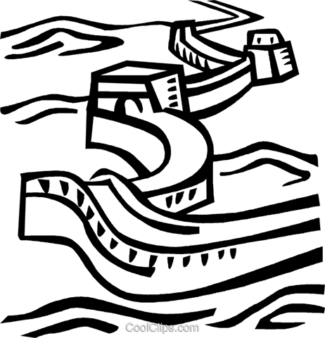 Great Wall of China Royalty Free Vector Clip Art illustration