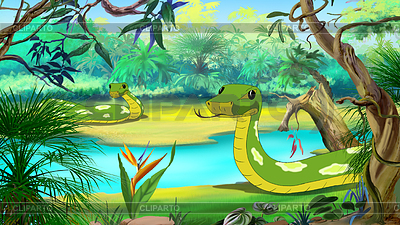 Green Anaconda in Amazon River .
