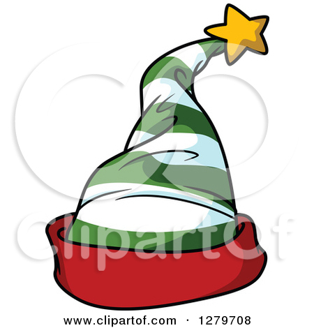 Green And White Striped Christmas Elf Ha-Green And White Striped Christmas Elf Hat With A Red Rim by Vector Tradition SM-15