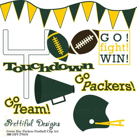Green Bay Packers Football Clip Art - Personal or Commercial Use. $3.00, via Etsy