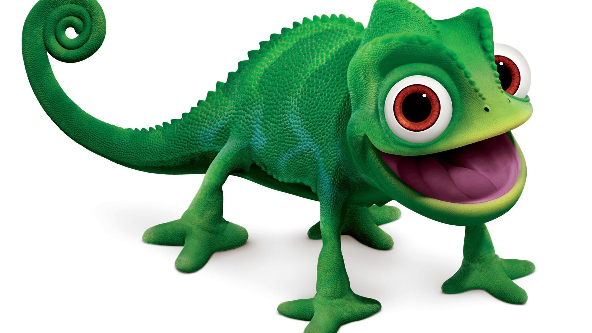 Green Chameleon Cartoon Character