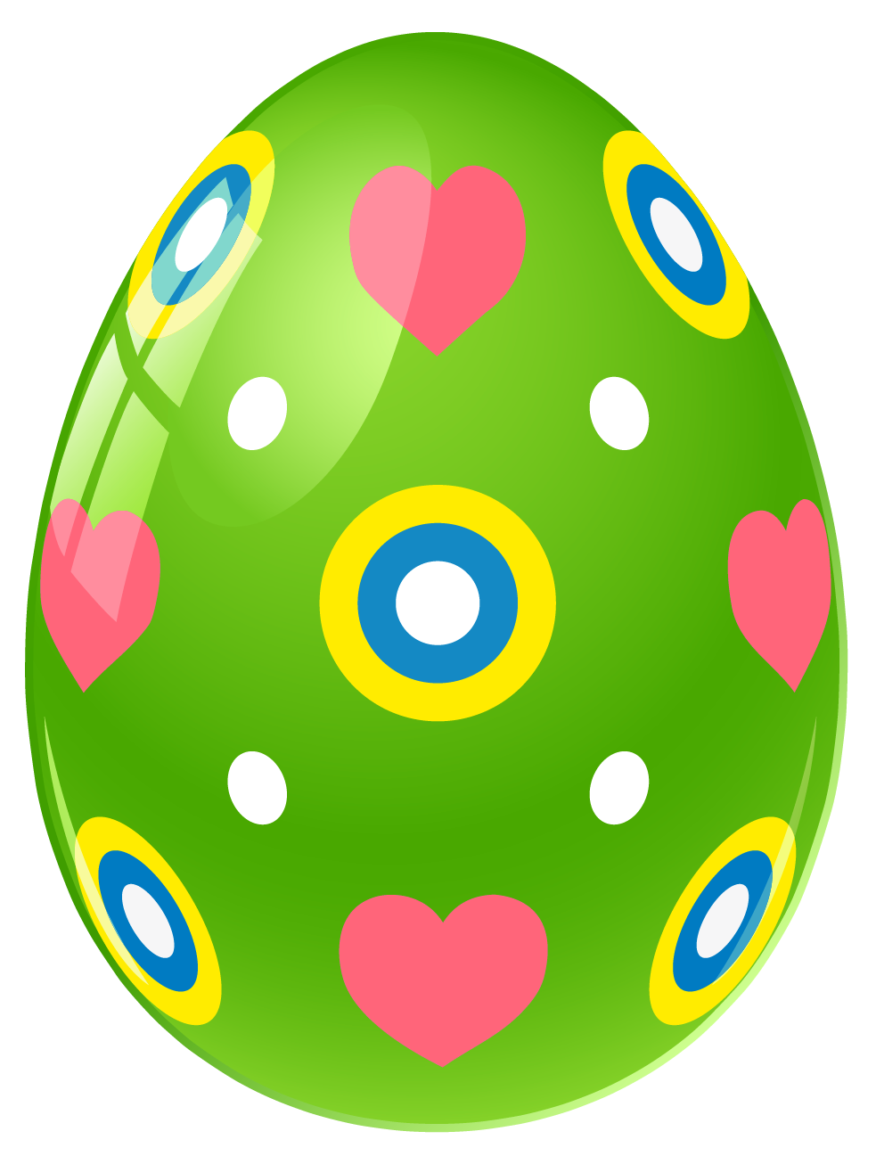 Green Easter Egg With Hearts .