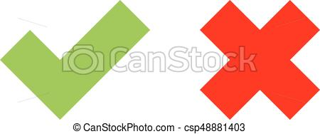 Check mark icons. green tick and red cro-Check mark icons. green tick and red cross. flat vector illustration  isolated on white background.-8