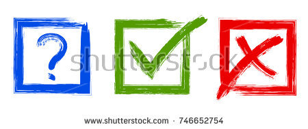 Question, red X and green tic - Green Tick Clipart