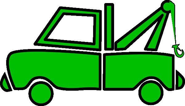 Green Tow Truck clip art - vector clip art online, royalty free