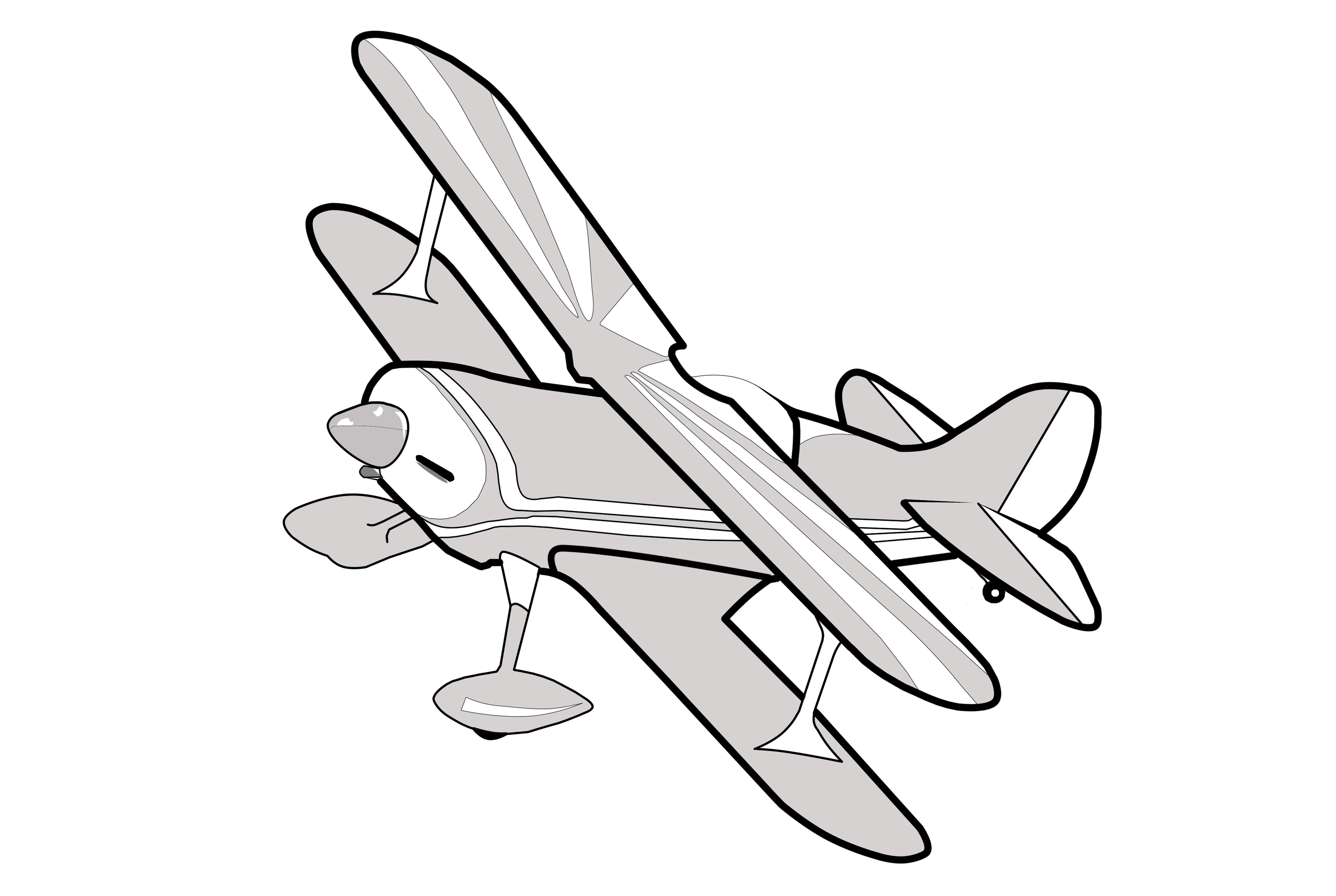 Grey Biplane Clipart Image-Grey Biplane Clipart Image-13