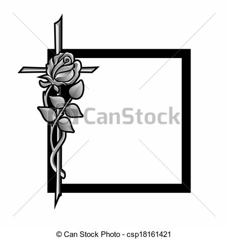 ... grief - funeral decoration with black frame, cross and rose grief Clip Artby ...