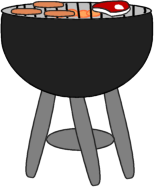 Grill - clip art image of a grill with a steak and hot dogs grilling.