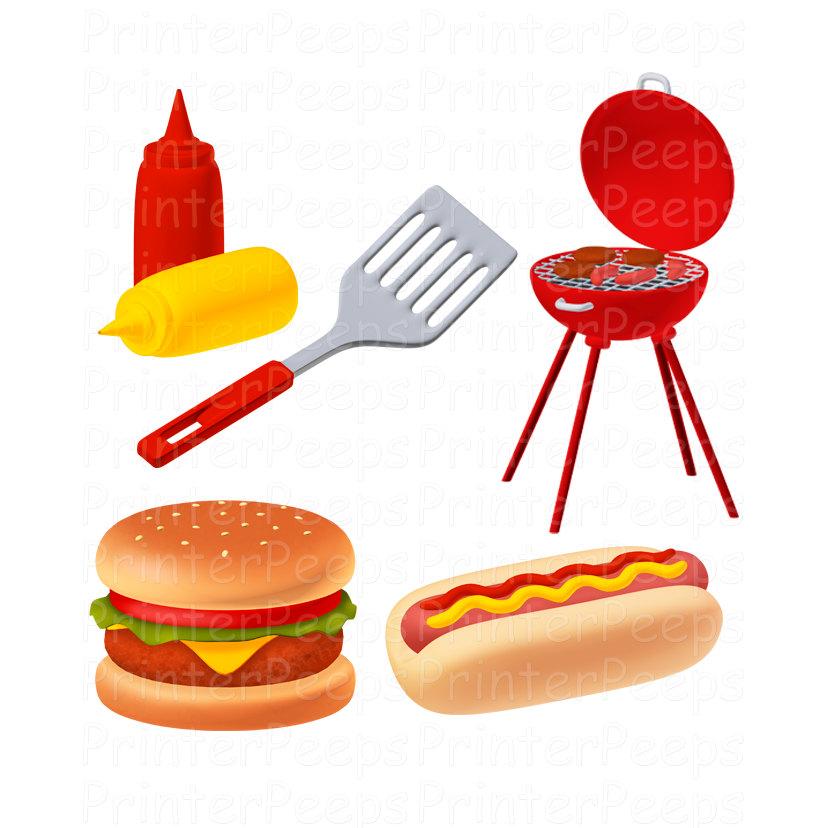 Grill Clipart Scrapbook Pack Digital Scrapbooking Cook Out Barbecue Summer Hamburger Hotdog Spatula Ketchup and Mustard Food