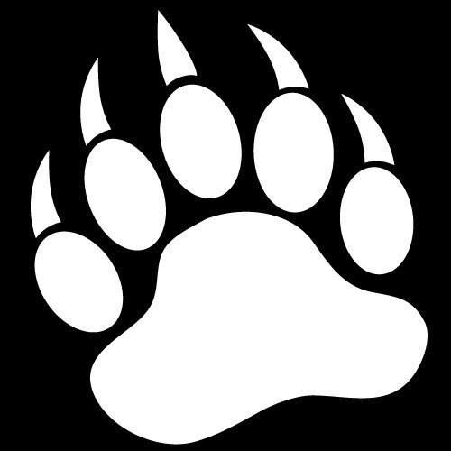GRIZZLY BEAR PAW PRINT - Vinyl Decal Sticker 5 WHITE - ClipArt