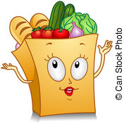 ... Grocery Bag - Illustration of a Grocery Bag Character.