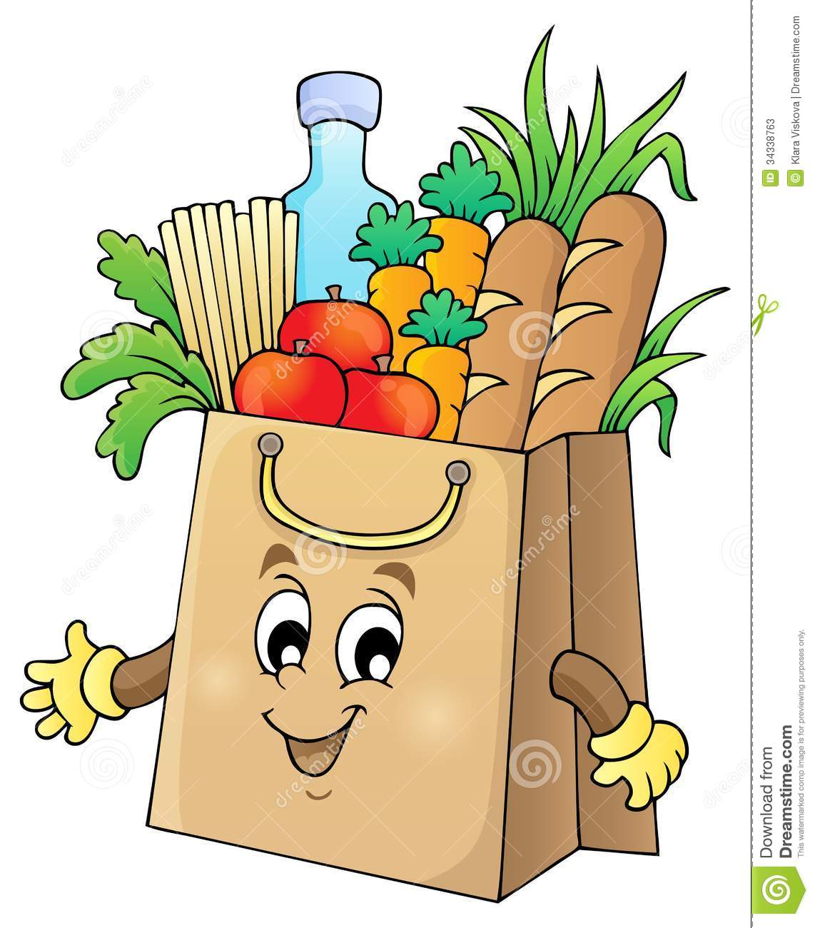 Grocery Bag Of Food Clipart. Shopping bag theme image 1