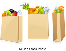 ... Grocery shopping bags - Isolated shopping bags in different.