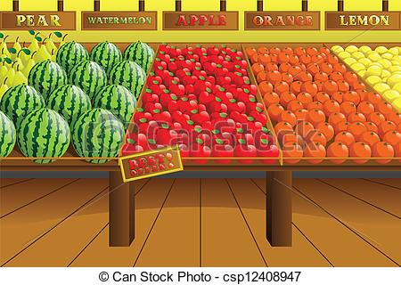 ... Grocery store produce aisle - A vector illustration of.