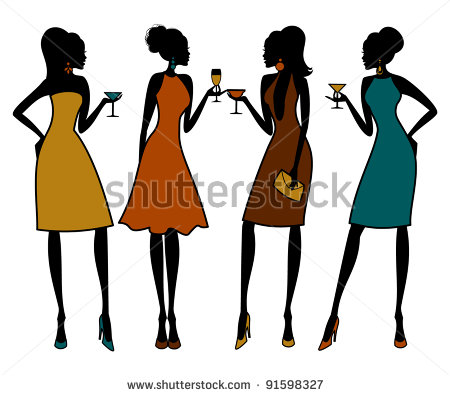 group of girl friends clipart