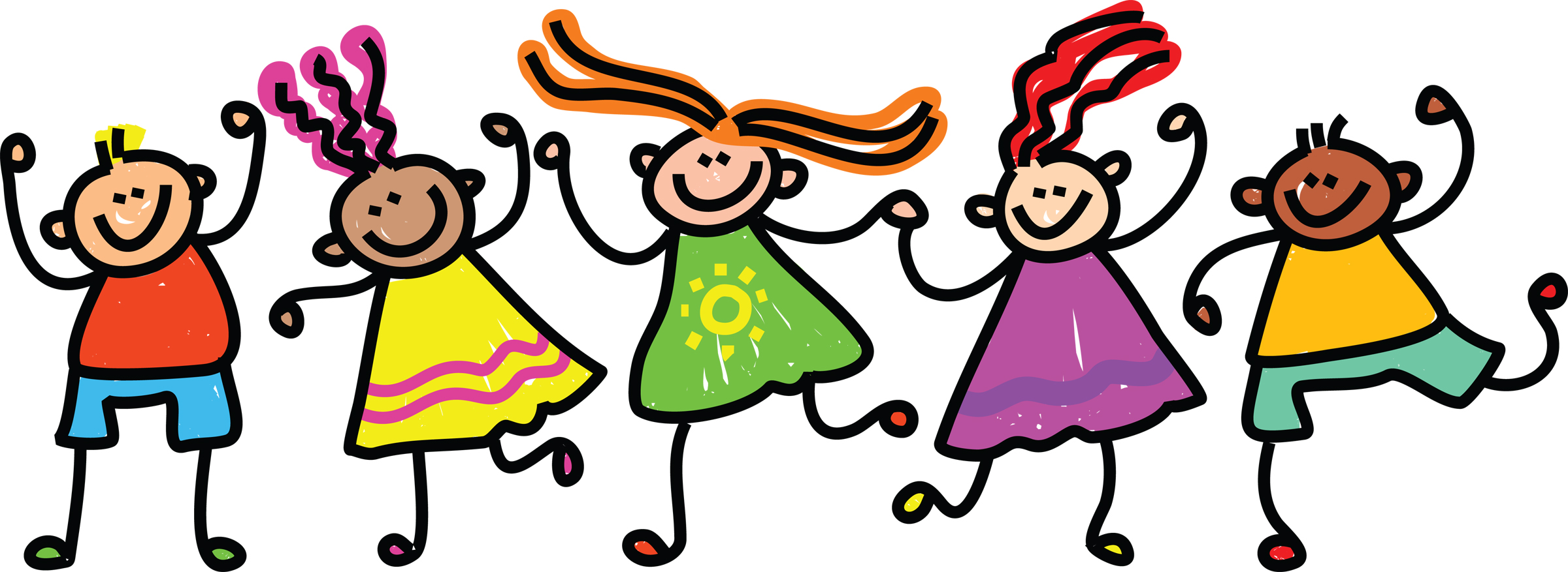 group of kids clipart