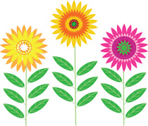 Group Brightly Colored Flowers Clipart Size: 206 Kb