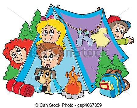 ... Group of camping kids - vector illustration.