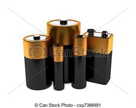 Group of different batteries  - Batteries Clipart