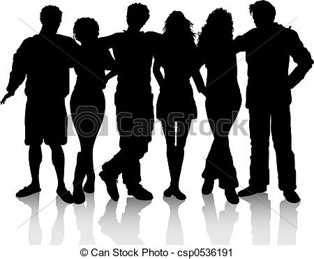 ... Group of friends - Silhouette of a group of friends
