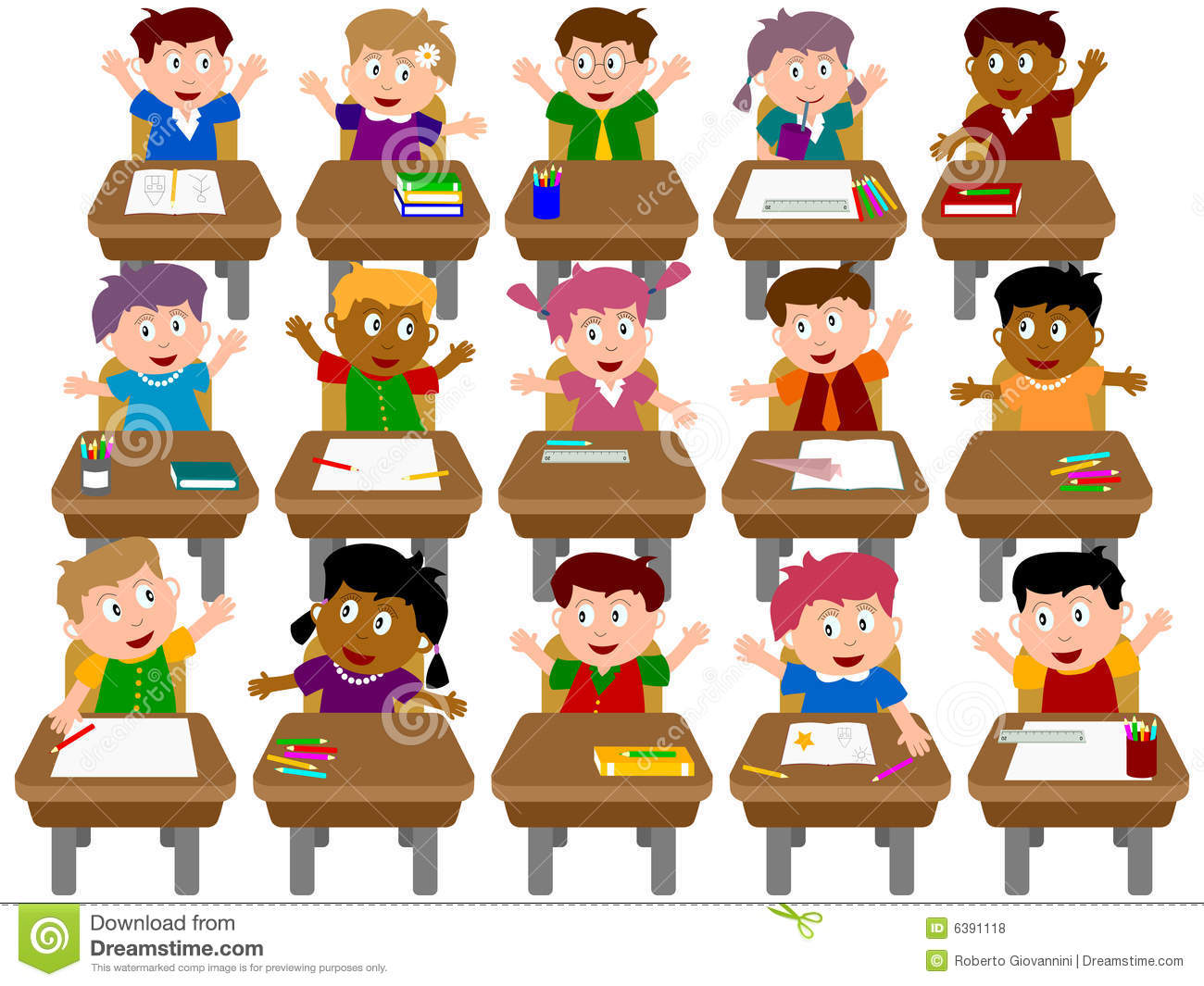 Group Of Kids In A Classroom .-Group Of Kids In A Classroom .-13