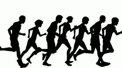 Group Of People Running Clipart Stock Footage Animated