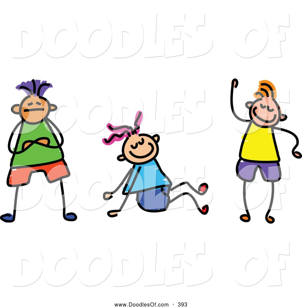 Group Of Three Friendly Kids Doodle Clip Art Prawny