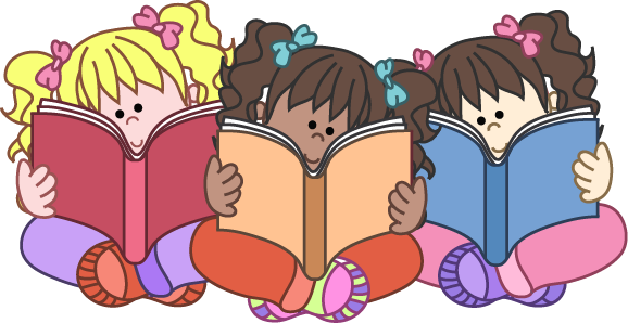 Group Reading Clipart Girls R - Kids Reading Clipart