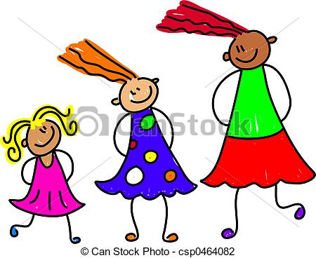 ... growing girls - happy and - Sisters Clip Art