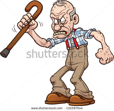 Grumpy old man. Vector clip .