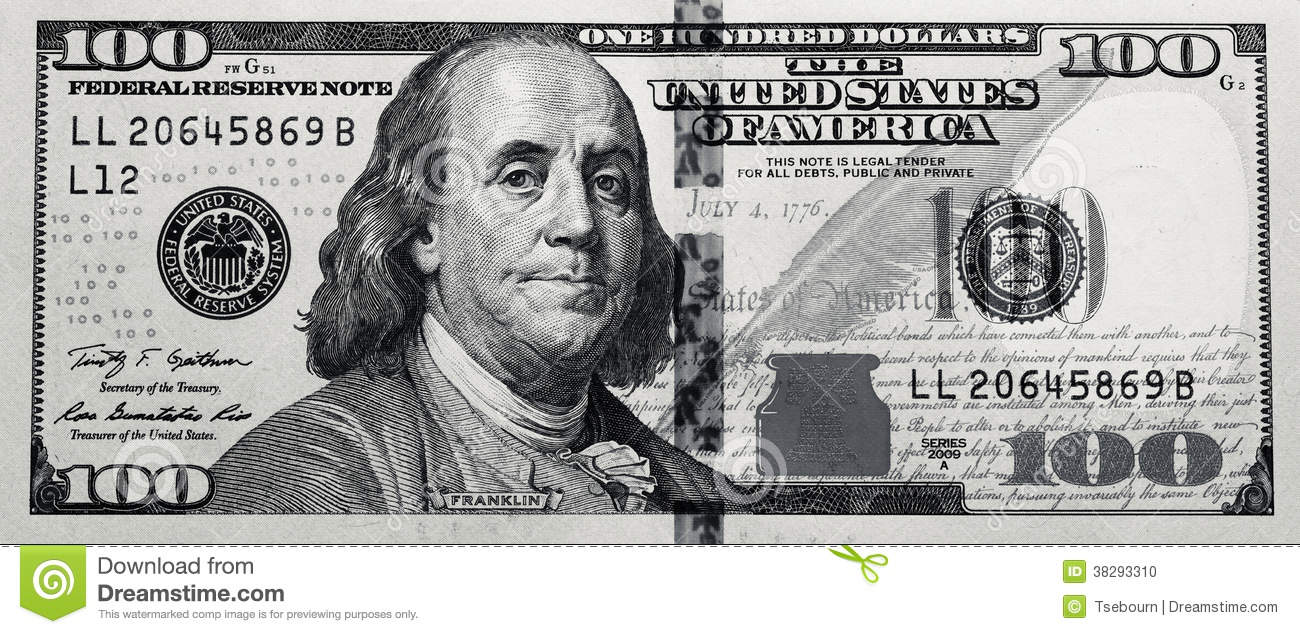 Grungy Black u0026amp; White $100 Bill