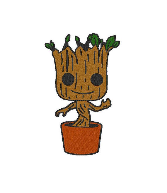 This file is an image of Baby Groot in the pot from the popular movie  Guardians of the Galaxy.