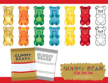 Gummy Bear Clip Art Set Art Work Art Sets Gummy Bears Bears Clip