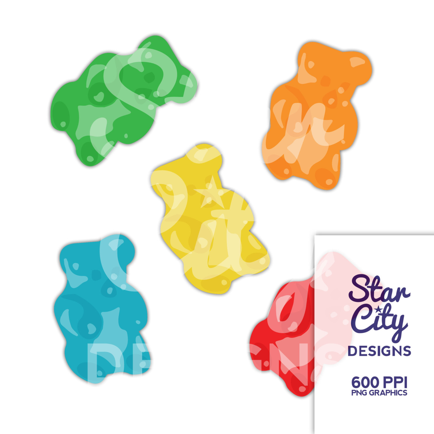 Gummy Bear clipart, gummy clipart, candy clipart, gummy clip art, clipart, vector art, vector graphics, instant download