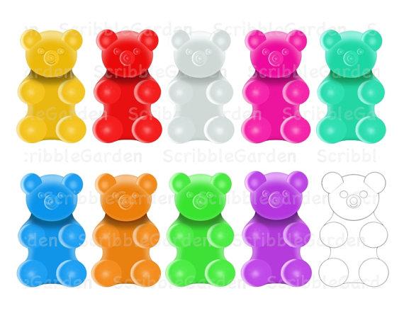 Gummy Bear Counters Digital Clipart By Scribblegarden On Etsy
