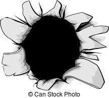 A Torn Circular Hole, Perhaps A Bullet H-A torn circular hole, perhaps a bullet hole from a gunshot-0
